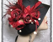 Hat - Black Straw Cloche hat 1920s Flapper Hat - Dorothy Parker
