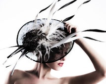 Kentucky Derby Hat Haute Couture Hat Headpiece Black and White Large Fascinator