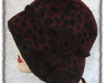 Cloche Hat Flapper Hat Bordeaux Leopard Cloche