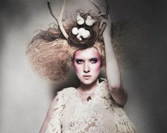 Antler Headpiece, woodland hat, antler hat - The Birds Nest Upon Her Head
