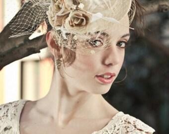 Wedding hat, wedding mini top hat, ivory straw top hat Sale