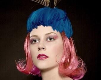 Kentucky Derby Hat - Headpiece Fascinator Feathers - Mrs. Peacock....