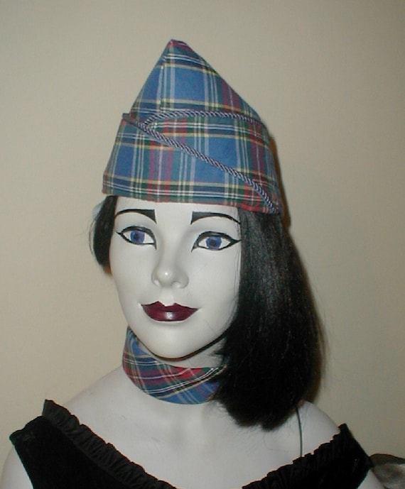 Military Style Envelope Hat in Plaid