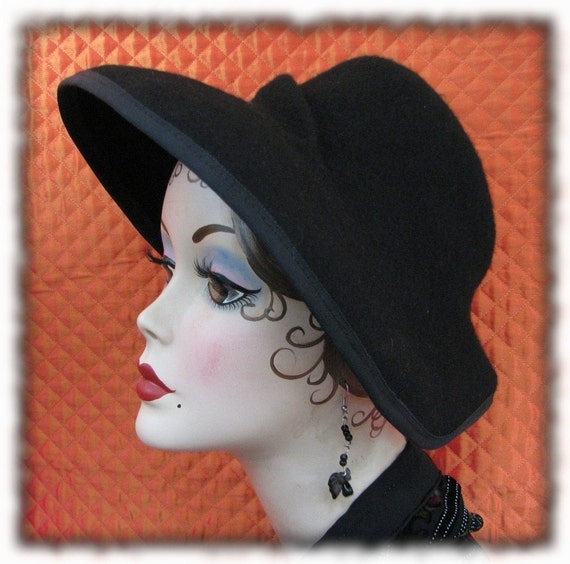 Black Fur Felt Hat 1940s Old Hollywood Black Hat Katherine Hepburn