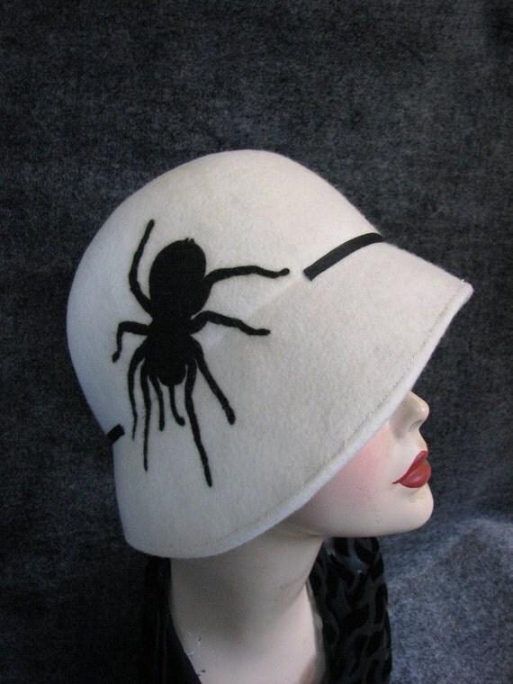Cloche Hat Spider Cloche Halloween Hat Flapper Hat