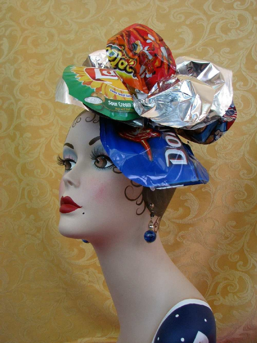 Fascinator Hat Recycled Headdress Crazy Chip Bag Headpiece