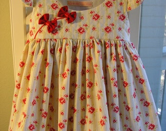 Quilted Bodice Dress With Red Bows, Size 3