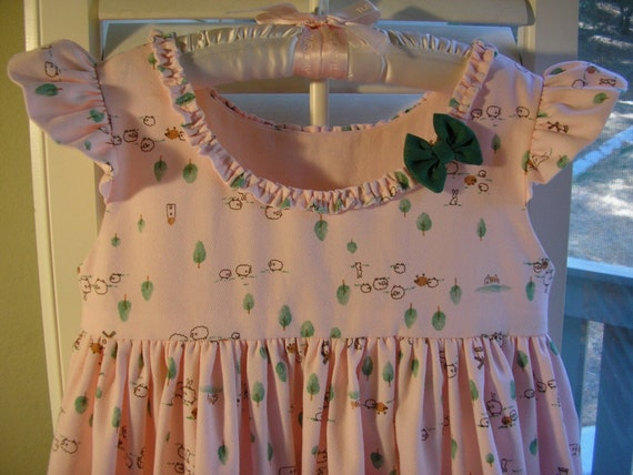 Pretty Pink Dress With Green Bow, Size 3