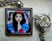 Snow White Mini Art Print Necklace, Frame Pendant, Antique Silver, Fairy Tales, Once Upon a Time, Storybook Art