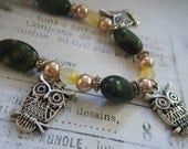 Silver Owl Charm Bracelet with Green Beads, Copper Accents, Whimsical