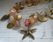 Gold Seashell Charm Bracelet with Coral Toned Gemstones, Ocean, Summer, Beach, Starfish, Seahorses, Shells
