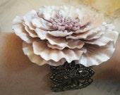 Pale Pink Blossom Metal Cuff Bracelet, Fairies, Feminine, Victorian, Glitter, Antique Brass, Flowers, Vintage