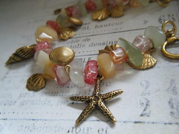 Gold Seashell Charm Bracelet with Coral Toned Gemstones, Ocean, Summer, Beach, Starfish, Seahorses, Shells