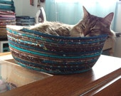 Cuddly Cat Snuggle Bed - Teal and Brown