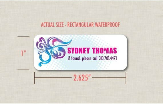 SALE Waterproof Labels - Halftone Flourish Personalized Labels - Set of 30