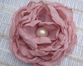 Handmade Recycled Pink Fabric Singed Edge Flower with Recycled Pearl Bead