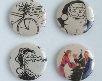 Christmas Buttons 1 inch Pin Back or Magnets