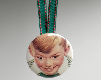 Vintage Smiling Boy Pocket Mirror Christmas Ornament