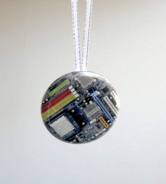 Computer Motherboard Pocket Mirror Christmas Ornament