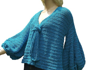 Turquoise Cotton Cardigan, Sweater