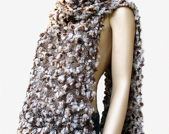 Soft and Fluffy Shades of Brown Scarf, Wrap, Shawl, Stole