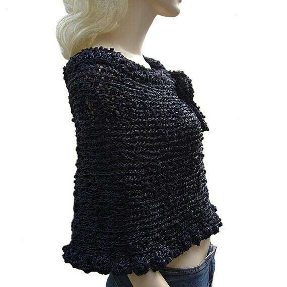 Elegant Black Crocheted Capelet - Poncho