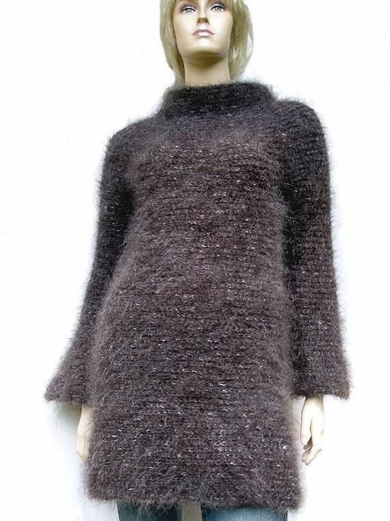 Denim Brown Luxury Mohair Sweater Tunic Mini Dress Long Sleeves