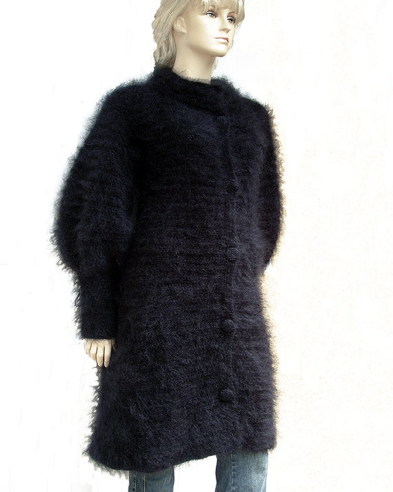 Funnel Neck Black Mohair Coat / Long Cardigan / Sweater Coat
