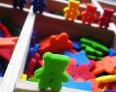 6 Rainbow Little Bear Buttons
