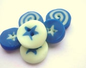 6 Glow in the Dark, Blue, Star, Buttons