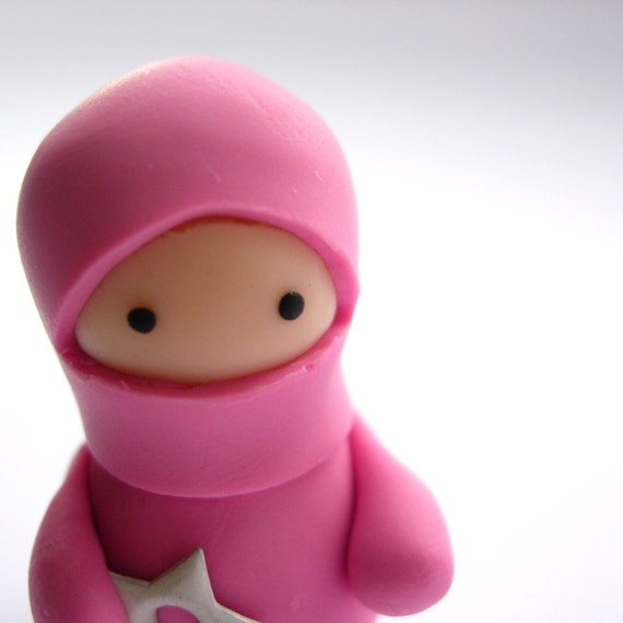 Little Dusky Pink Ninja with Throwing Star