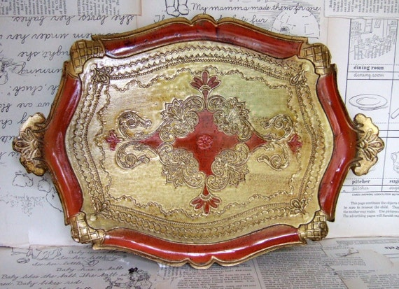 VINTAGE Orange and GOLD Composition TRAY made in Italy