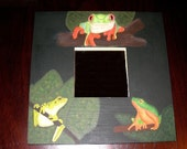 RESERVED FOR POSITIVECREATIONS - Painted Frog Lovers Rainforest Tree Frogs Wood Mirror Ribbit - DO NOT PURCHASE UNLESS YOU ARE POSITIVECREATIONS please