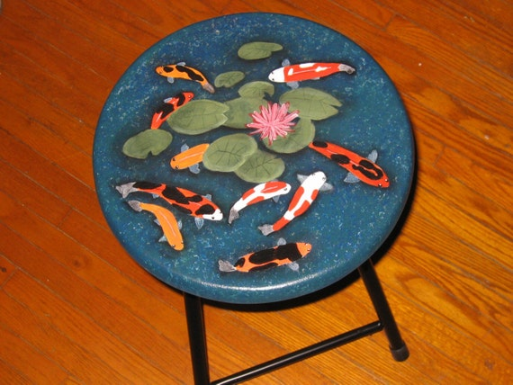 Sale indoor koi fish pond painted stool mini table for Koi fish pool table