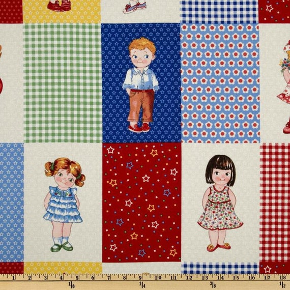 SALE 1 Panel of Today's Paper Dolls Blocks Cotton Fabric by Newcastle Fabrics