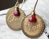 Ruby gemstone earrings French oui non vintage brass fashion july birthstone