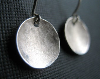 silver earrings, hammered silver jewelry, round circles gift under 50