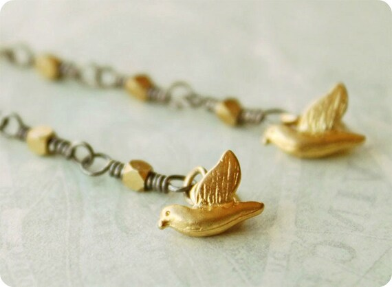 silver and gold bird earrings long golden free shipping sale