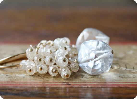 gemstone earrings, wedding bridal jewelry, beaded white faceted quartz gold