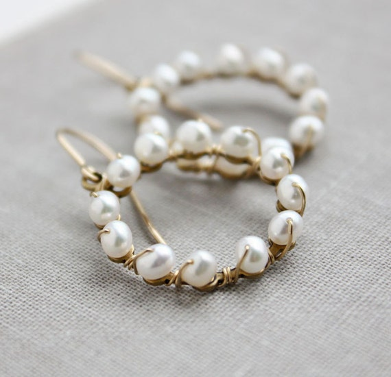 pearl earrings, white bridal jewelry wedding, round gold beaded, circle hoop beach