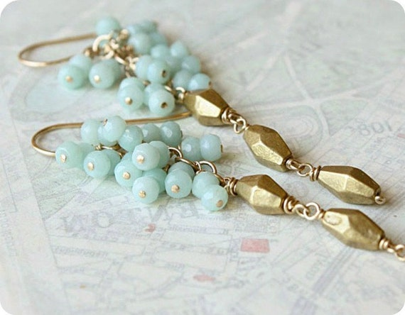 statement  amazonite earrings baby blue gemstone beaded vintage brass long pastel fashion