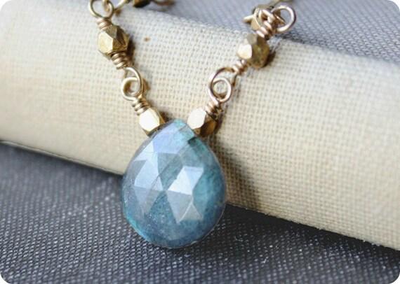 labradorite necklace, gold minimal jewelry, blue gemstone, Black Friday Etsy
