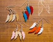 Feathers Earrings Laser Cut Plastic wildlife birds bright PINK AND PEACH