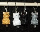 Cat ceramic stitch markers with corresponding glass druks - set of four