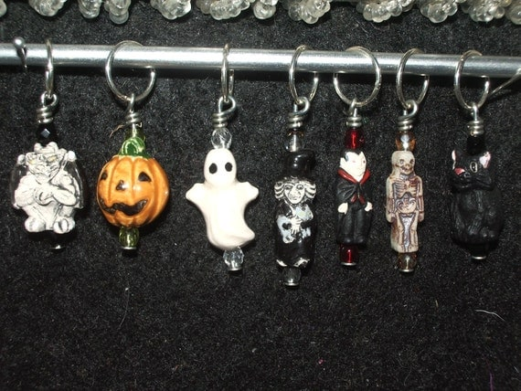 Make your own Halloween stitch markers - set of 4 - choose from mixed ceramic charms with matching crystal