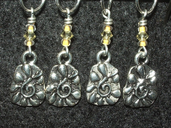 Pewter Sun Stitch Markers with seed beads and yellow crystal - set of 4