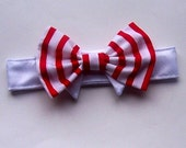 Dog or Cat Bow Tie Red and White Stripes  All Sizes