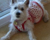 Strawberry Dog Sundress with a Crystal Strawberry Small