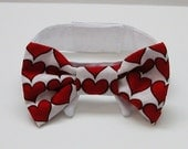 Dog or Cat Bow Tie:White with Red Hearts All Sizes