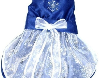 Holiday Dog Dress  Blue Formal Wear News Years Christmas Midnight blue with snowflakes add a neck tie